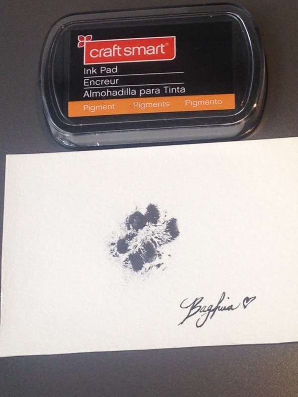 Paw print using a Pigment ink pad (stainless)