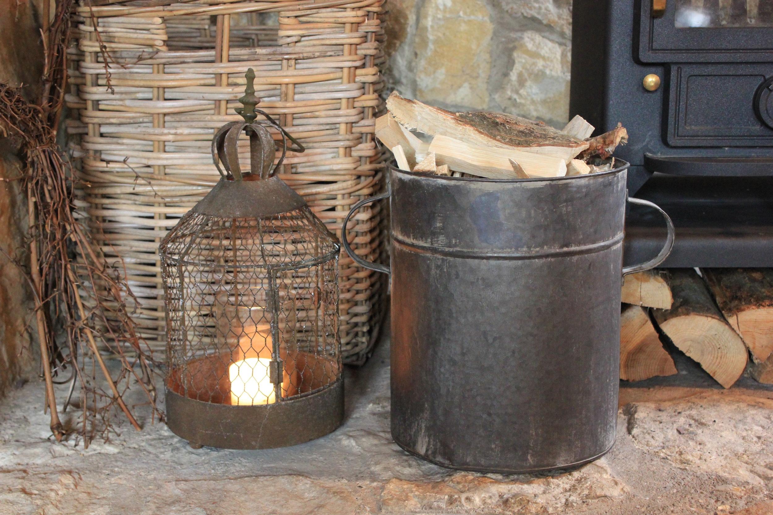 I repurposed my  zinc tub  for kindling by the fire.  This is the larger of the two which I am selling in set in my  shop .