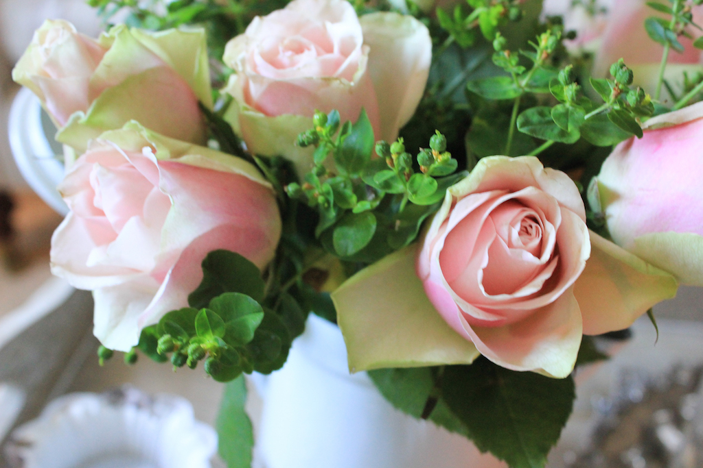 roses and euphorbia
