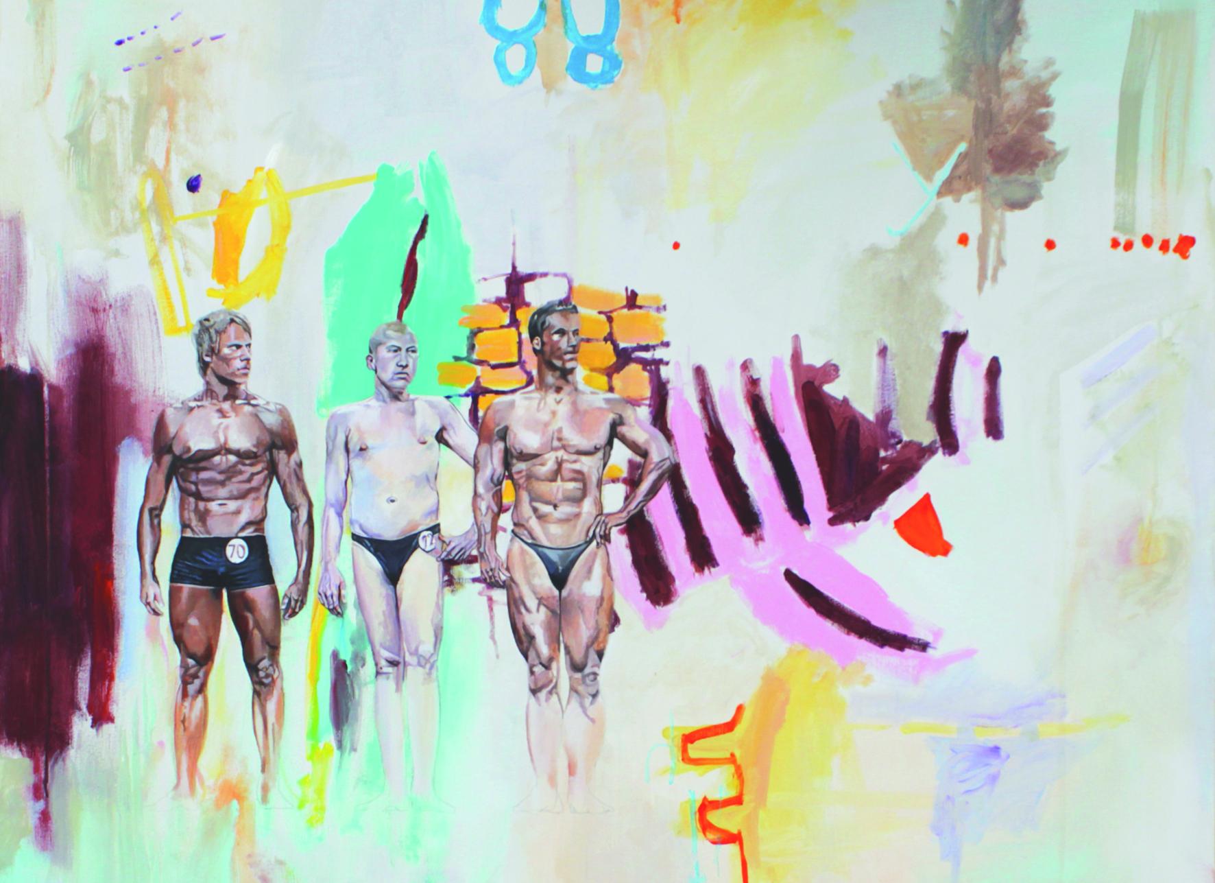 Ausschnitt 'Helden2', Acryl auf Leinwand, 100cm x 100cm, 2017/2018