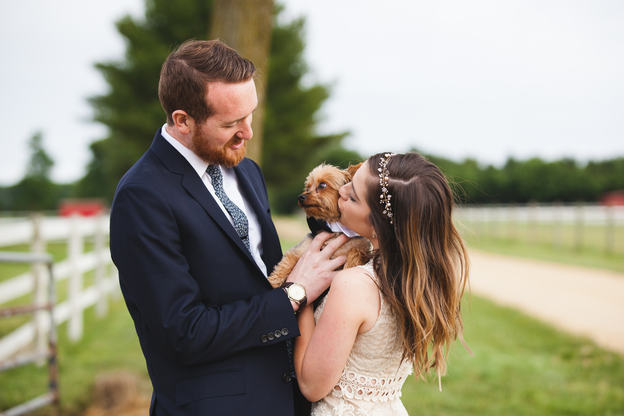 Family Farm Wedding in South Jersey Photography - Rustic Barn NJ - Millville, Vineland, Pittsgrove, Cape May, Ocean City - Creative Photographer, Candid, Joyful, Adventure. Elopement, Casual - Yorkie Puppy Ring Bearer Dog