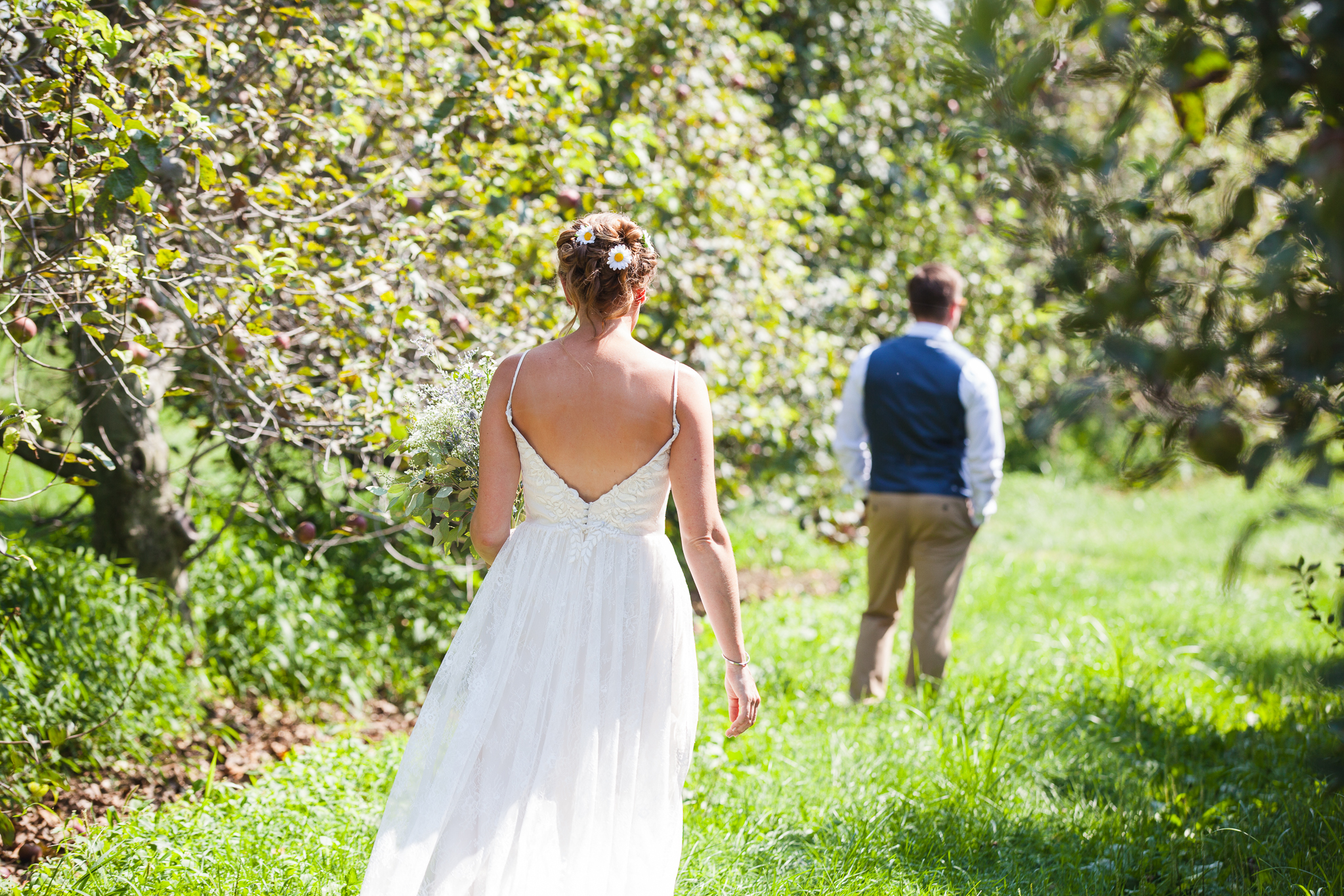 First Look - Danielle Salerno Photography Tara and Mike Rodale Institute Wedding