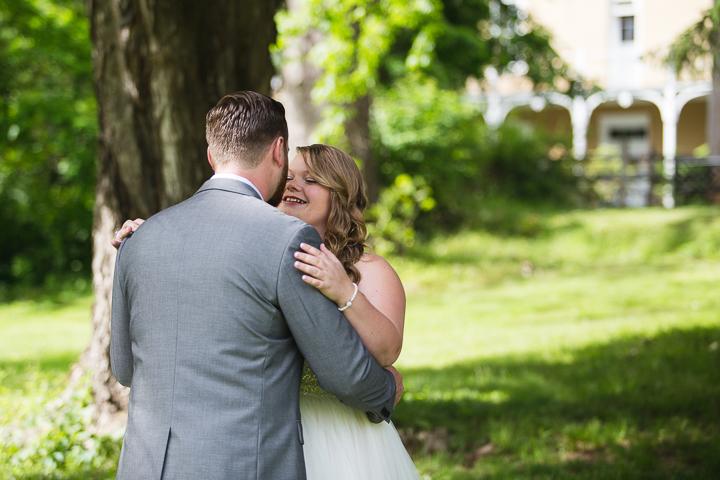 Danielle Salerno Photography First Look Wedding Groom Gray Washington Inn