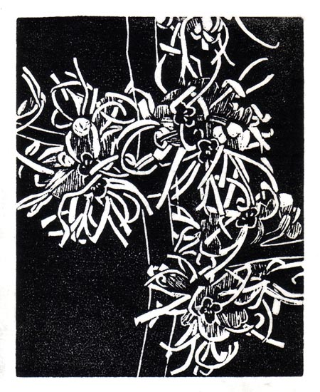 """February 17"" linocut; 4 x 5"" image size, 8 x 9"" paper size; printed on HP55 handmade laid rice paper; edition of 8; 2012; unframed"