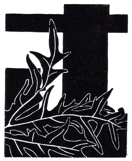 """October 27"" linocut; 4 x 5"" image size, 8 x 9"" paper size; printed on HP55 handmade laid rice paper; edition of 8; 2012; unframed"