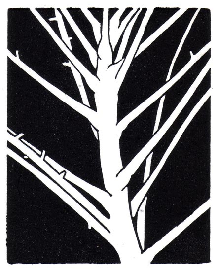 """November 23"" linocut; 4 x 5"" image size, 8 x 9"" paper size; printed on HP55 handmade laid rice paper; edition of 8; 2012; unframed"