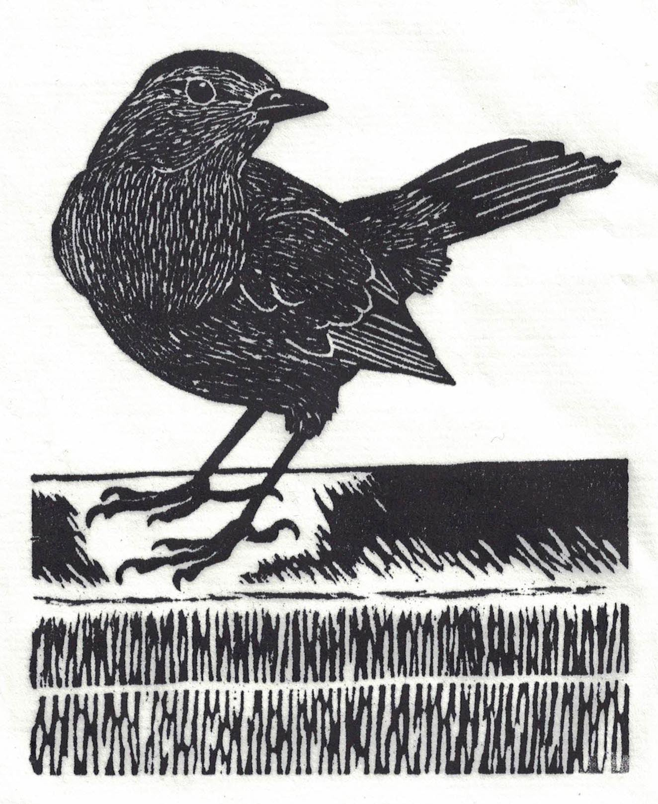 """May 19"" linocut; 4 x 5"" image size, 8 x 9"" paper size; printed on HP55 handmade laid rice paper; edition of 8; 2012; unframed"