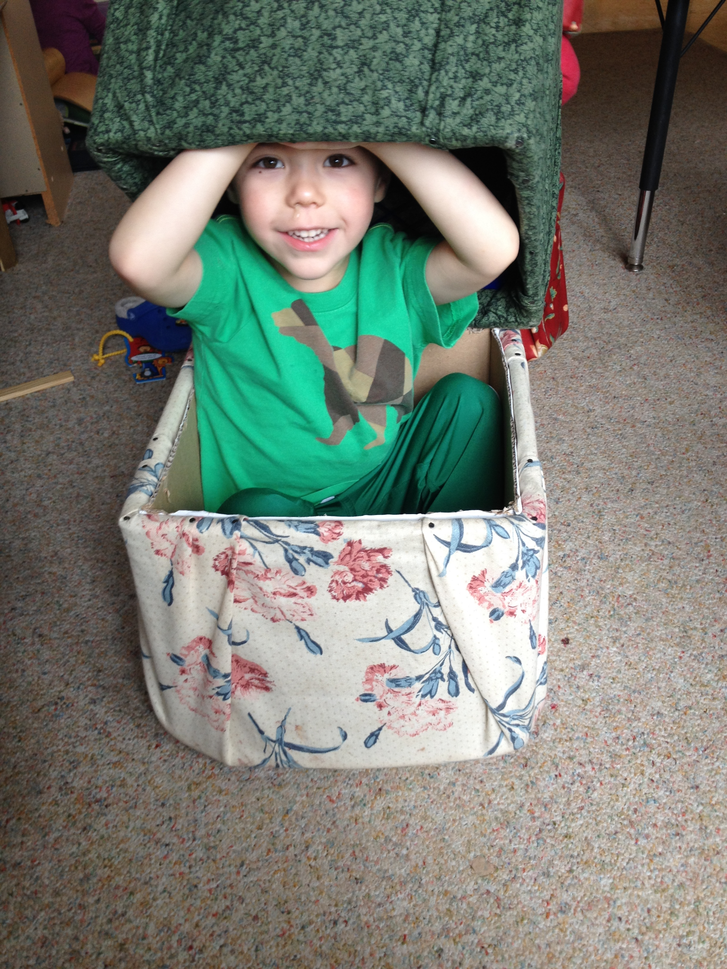 Box chairs are lightweight enough to carry, sturdy enough to be sat upon, and stylish enough to make students want to use them. When they aren't sitting, students can move them about as they see fit. Rocket ships, caves, treasure chests, cars, and trains all become possible with them simple addition of freely movable chairs.