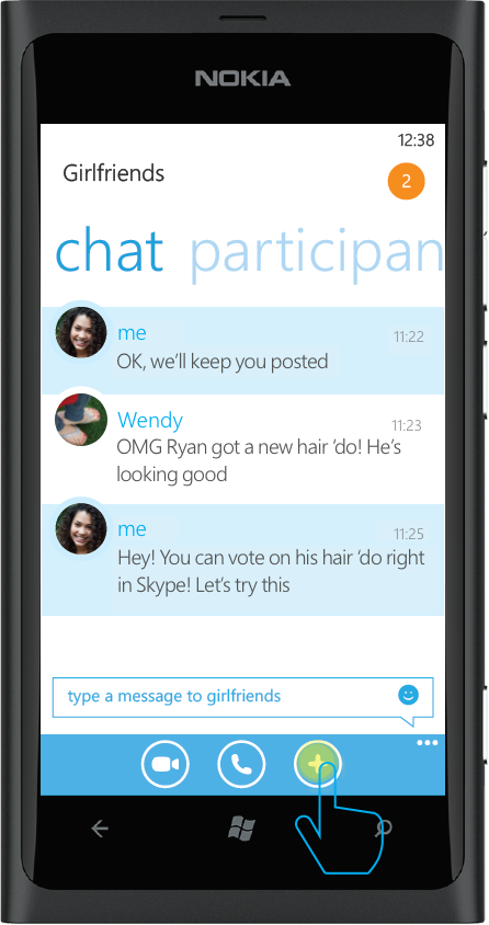 Jenny proceeds to start the American Idol poll directly from her Skype chat.