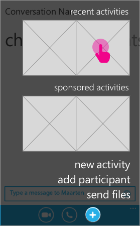 The user can go back to a recent activity, try a sponsored activity, or pick from the activity directory