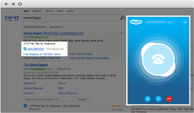 Skype-able numbers are highlighted on Bing's search results page and the call is completion using the Skype Web App.