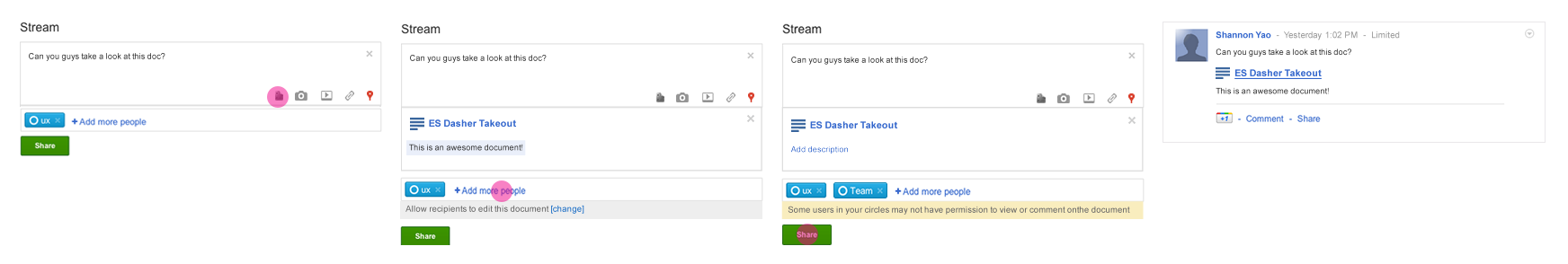 This is a flow for embedding a document to a Google+ post.