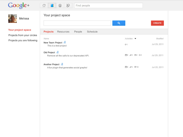 User can keep track of their projects in a dedicated space on Google+.
