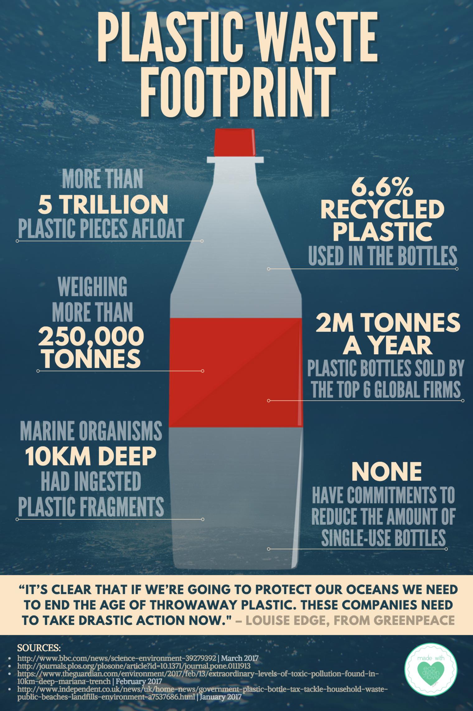 Plastic waste footprint infographic