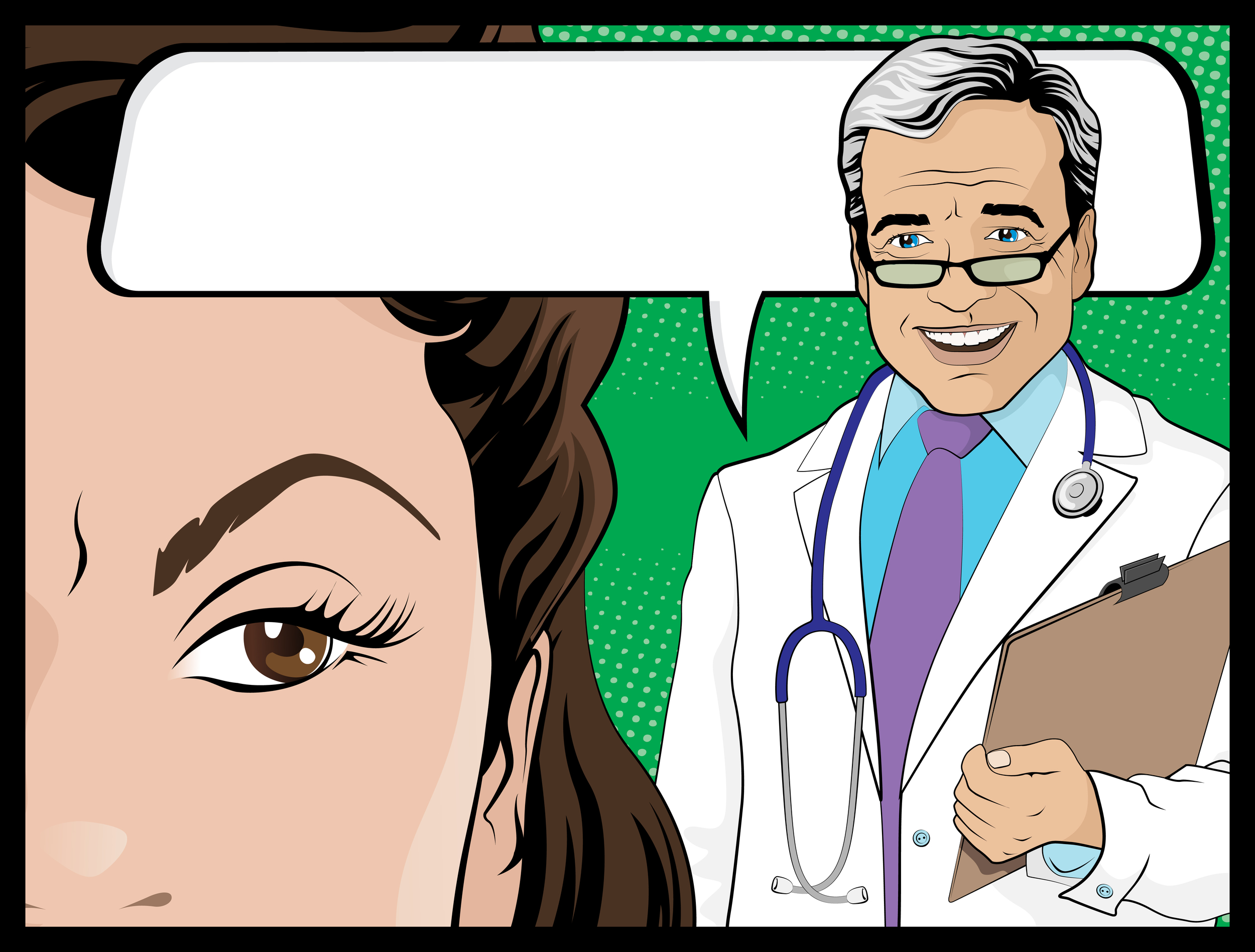 """Doctor's speech bubble should read: """"You look and act like a lady. I'm sure you just need to calm down."""""""