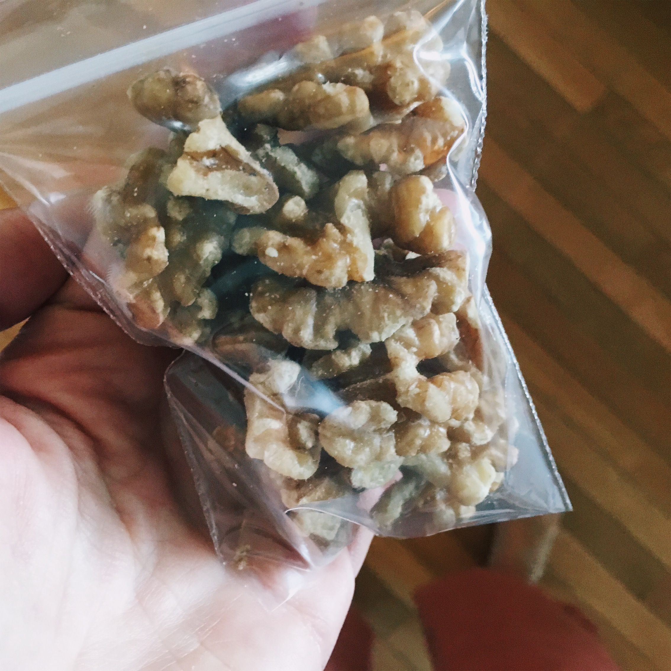 11:55pm - handful of raw walnuts. I stash little bags of nuts in my purse / gym bag and desk drawer so I never go hungry even if I have to eat while working.