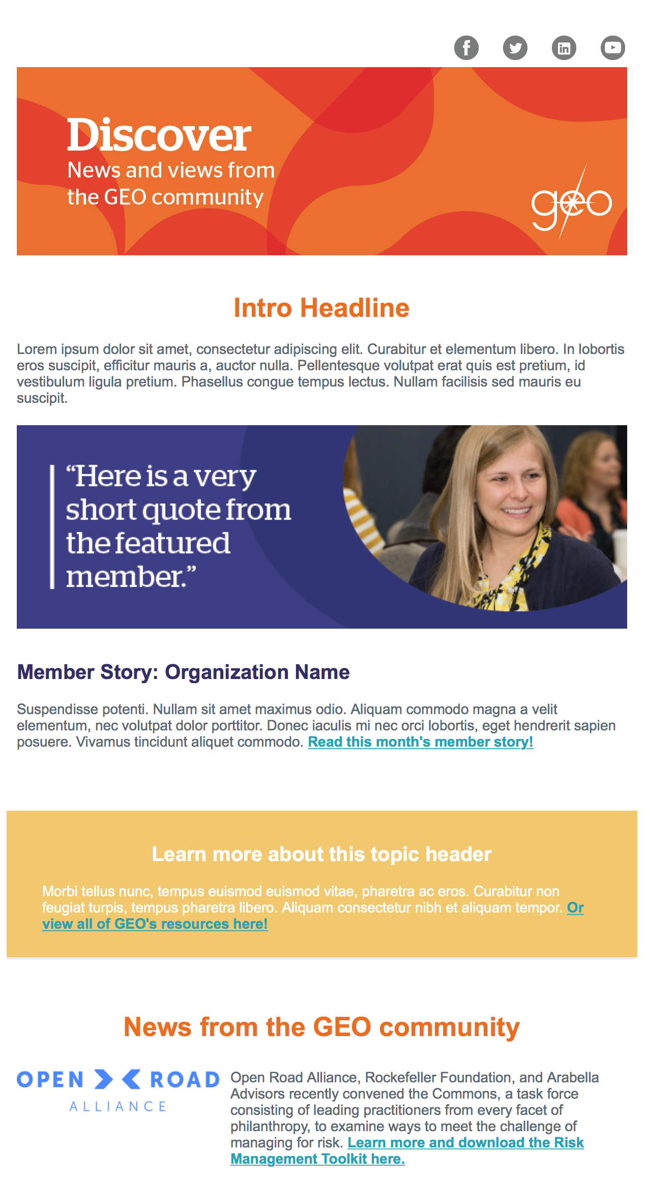 - As part of GEO's website launch, we launched a new brand system — one that brought brighter colors and more faces of our community. This is an example of one of the new email templates I created. This is for our content newsletter, Discover, which goes to our full list.