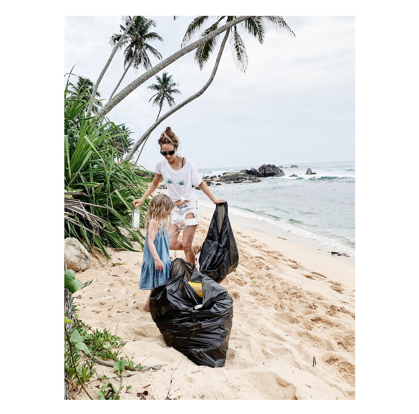 Beach Clean in Sri Lanka. We limited the clean to outside our house - otherwise the kids would have cleaned all day.
