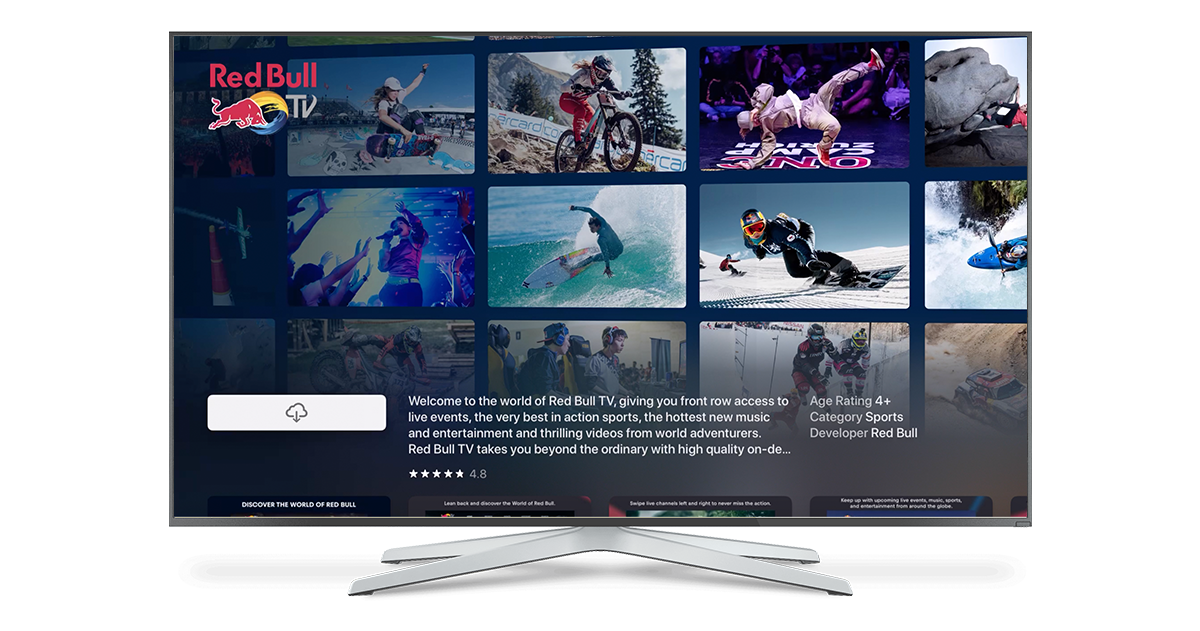 Red Bull TV App Store Product Background tvOS 13    20 Thousand Monthly Page Views