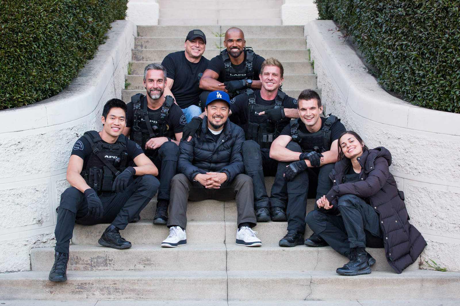 From left to right: David Lim, Jay Harrington, Odie Gallup (S.W.A.T. Technical Advisor), Justin Lin (Director/Producer), Shemar Moore, Kenny Johnson, Alex Russell, Lina Esco