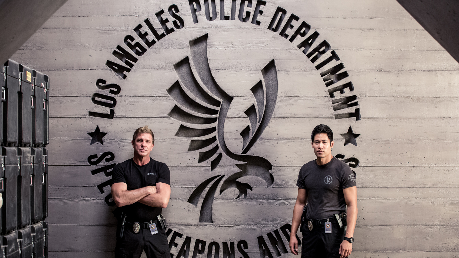 Kenny Johnson and David Lim on the set of S.W.A.T.