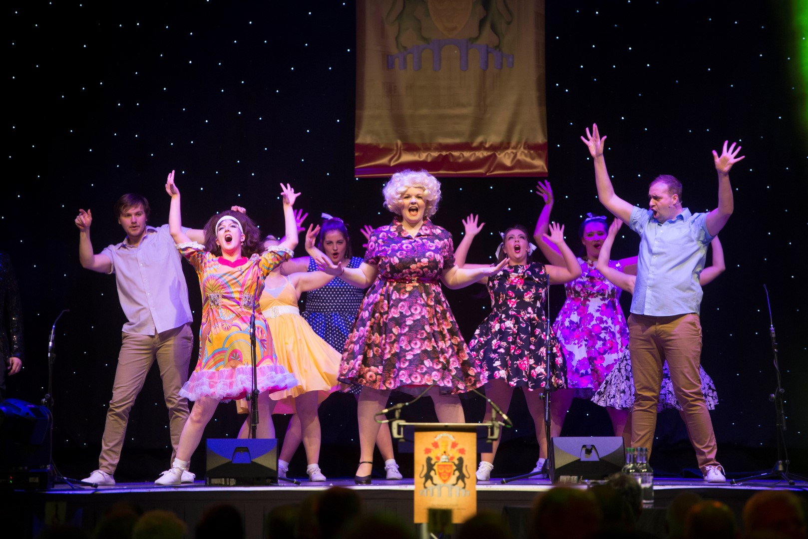 Phoenix Theatre corporate entertainment team performing Hairspray at Aberdeen Beach Ballroom