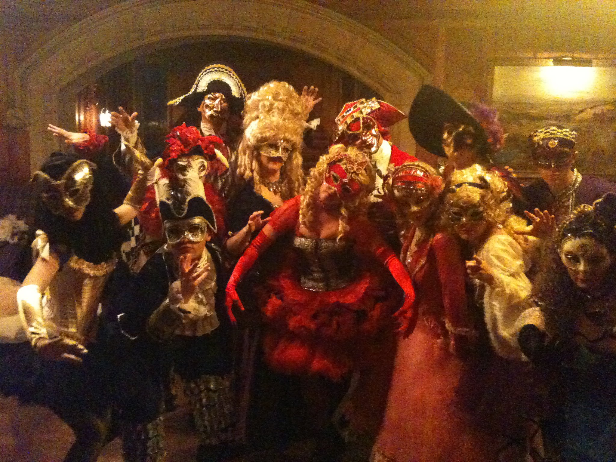 Phoenix Theatre's corporate entertainment team performing masquerade at Skibo Castle
