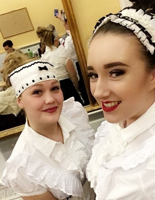 Claire with new friend Hannah backstage at Phoenix Theatre's Jekyll & Hyde (2017)
