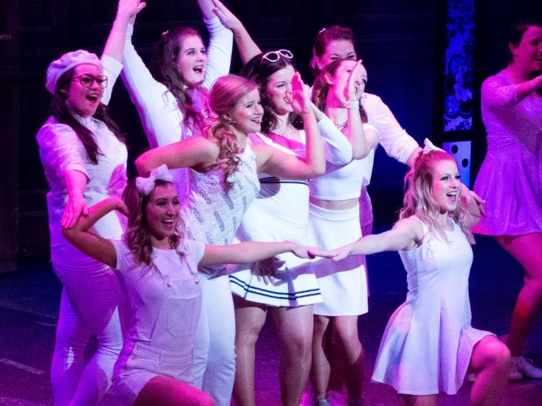 Claire and members of Delta Nu in Phoenix Theatre's Legally Blonde (2016)