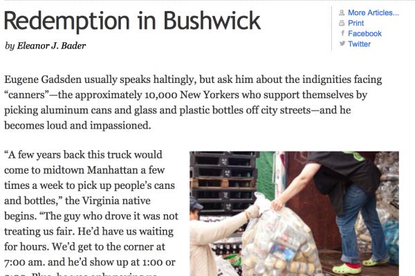 7/11/11 – Brooklyn Rail – by Eleanor J. Bader :  Redemption in Bushwick