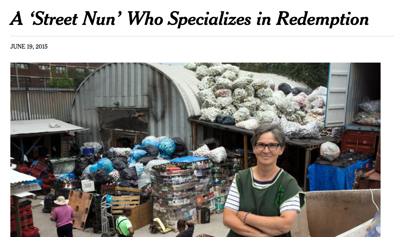06/19/15 - The New York Times - by Corey Kilgannon: A 'Street Nun' Who Specializes in Redemption