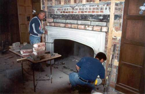 A new limestone hearth was cut and installed to match the original.