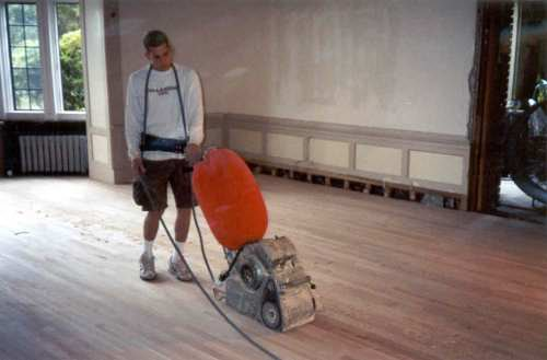 The new floor was then sanded (rough and finish).