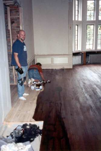 The floor was then hand-stained.