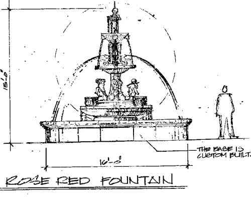 """Original draft drawing of fountain from the """"Rose Red"""" movie art department"""