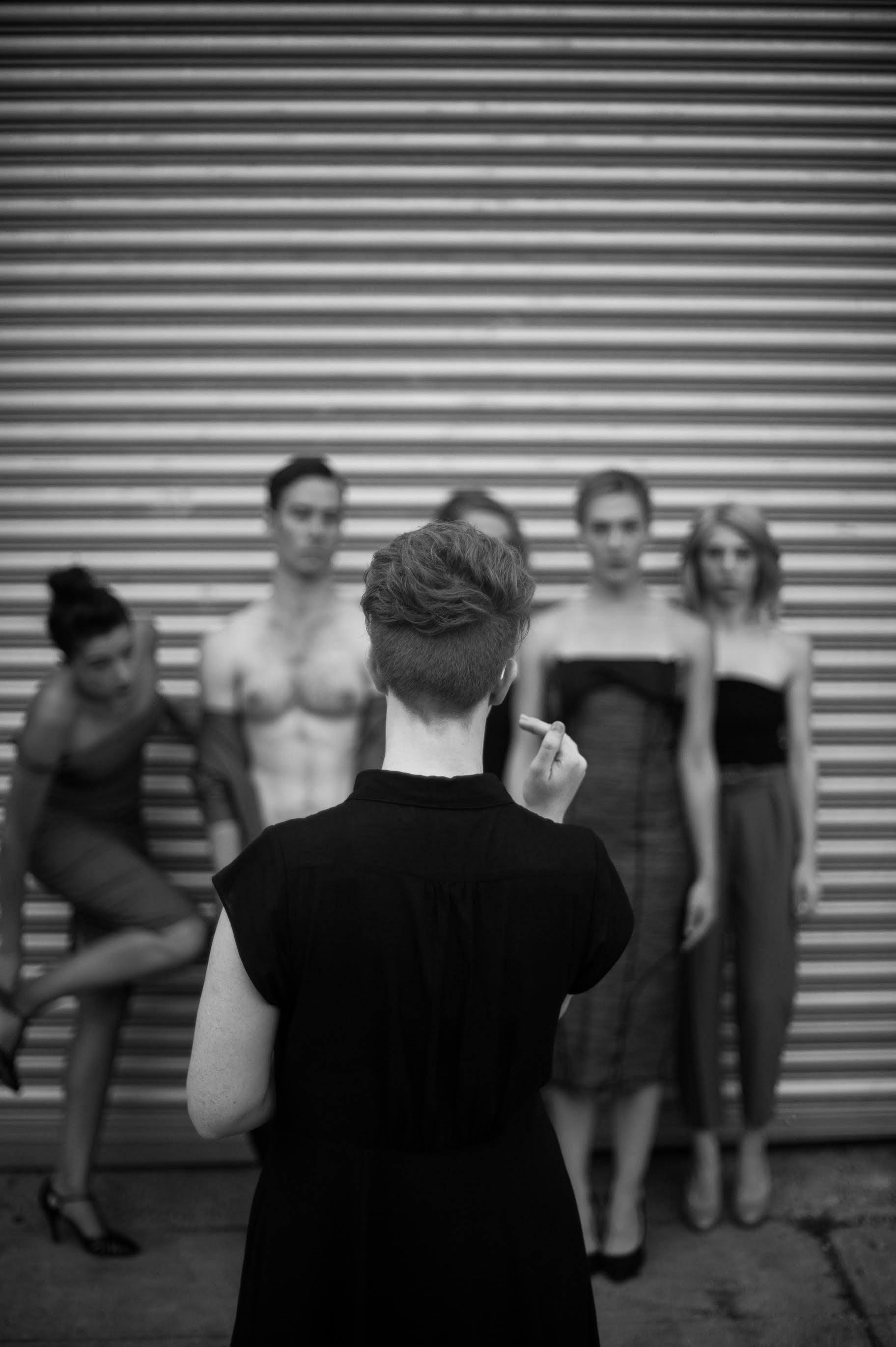 "Directing ""Trade"" photo shoot."