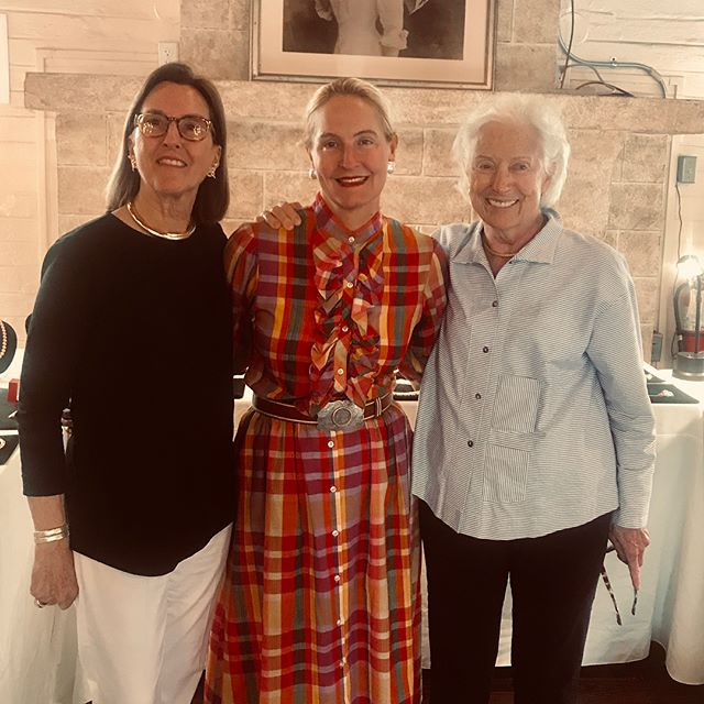 #Under the watchful eye of Louise du Pont Crowninshield we wrap up another trunk show at Boca Grande but this time it was different - on this special day in recognition of all of us extraordinary in our unique way women I am sandwiched by two of the greats: Pam and Cici. Cici gave me my first break into the inner world of trunk shows around America before there were pop ups and these fascinating micro environments for women run and owned small businesses were hard at work in Church recreation rooms, school hallways and small women's clubs around the country. To my left is graceful Pam who is the standard of professionalism and elegance even when the trunk show life requires schlepping a massive amount of heavy and awkward objects. Pam is always poised, professional and a lady at all the shows. This generation of women embraced me 11 years ago and demonstrated grit, grace and entrepreneurship.  They are from the background of a stuff upper lip and not talking too much about hardship. I watched, I learned and I saw the years change into seasons of aging, health challenges and retirement. These women remain stoic, strong and gracious even as we close this chapter. I am grateful to have been a part of this world as the changing of the guards approach #lifelessons #IWD #oldschool #alwayspolished
