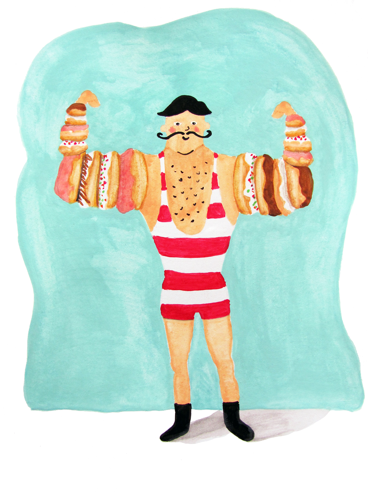 Donut Muscles  / watercolor / April 2016
