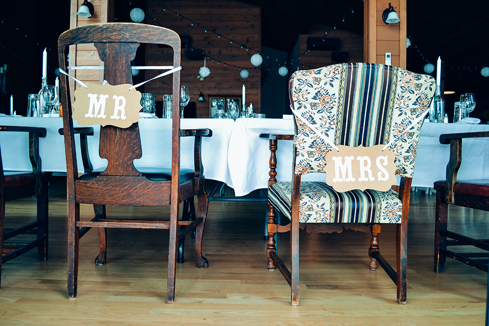 Mr and Mrs wedding chairs / photograph / The Artist By Night