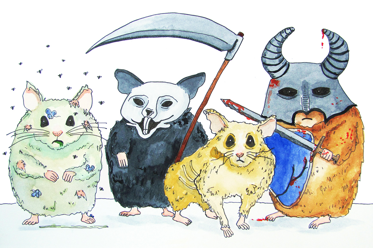 The Four Hamsters of the Apocalypse  / watercolor / April 2016