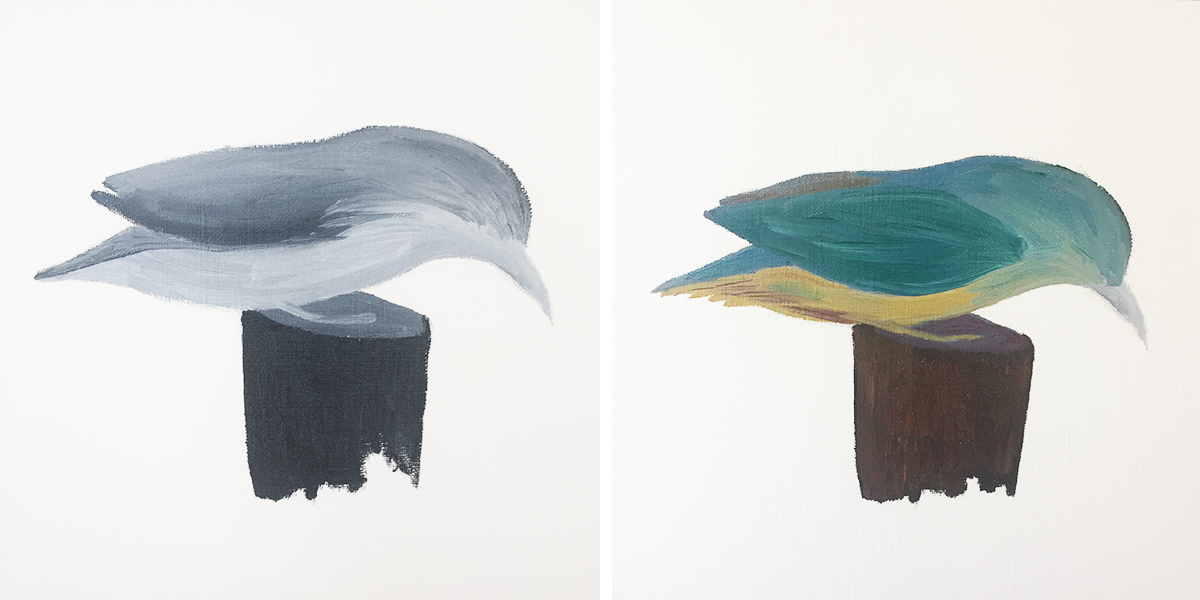 Here's an example of how I started with a basic layer of greys, then started building up the colours of the kingfisher's feathers.