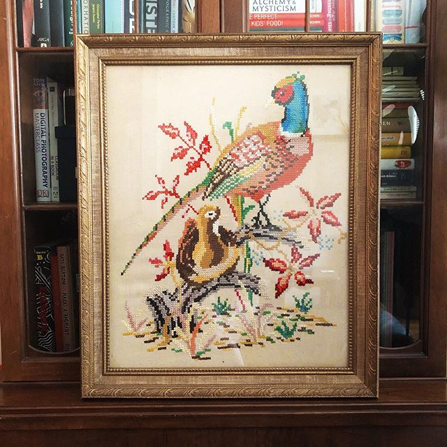 I haven't been able to find much time for my own creative practice these last few months, but at least I can surround myself with the creativity of others. I'm so lucky to have found this vintage pheasant needlepoint - it's making me so SO happy right now ❤️
