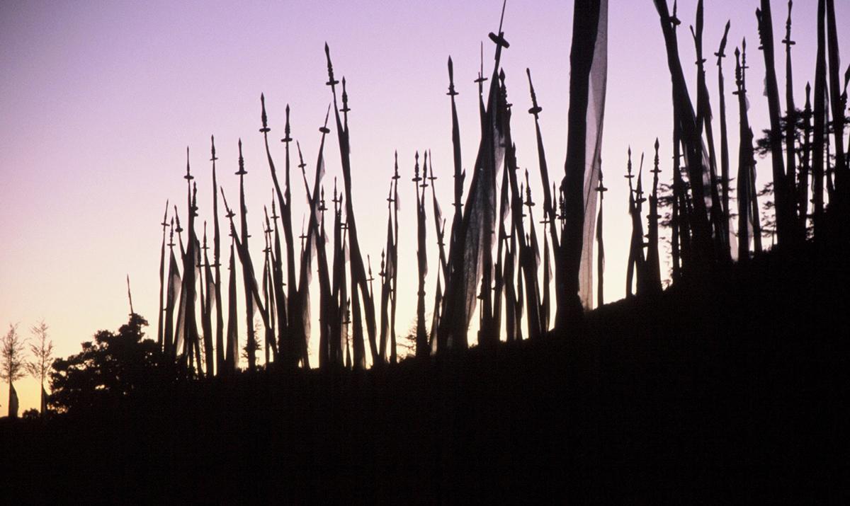 Prayer flags at sunset