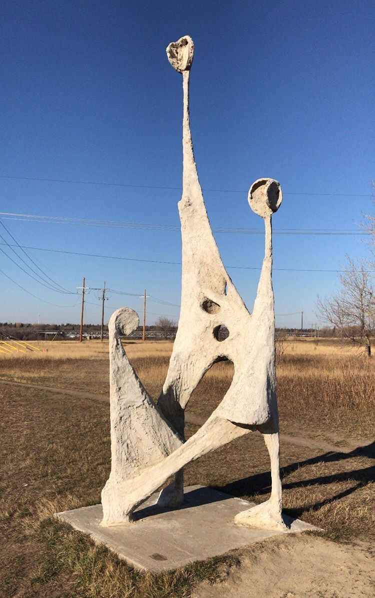 This discomfiting sculpture (which is hiding behind the Education Building at the University of Saskatchewan in an unmarked sculpture garden) is another thing I can't stop thinking about.