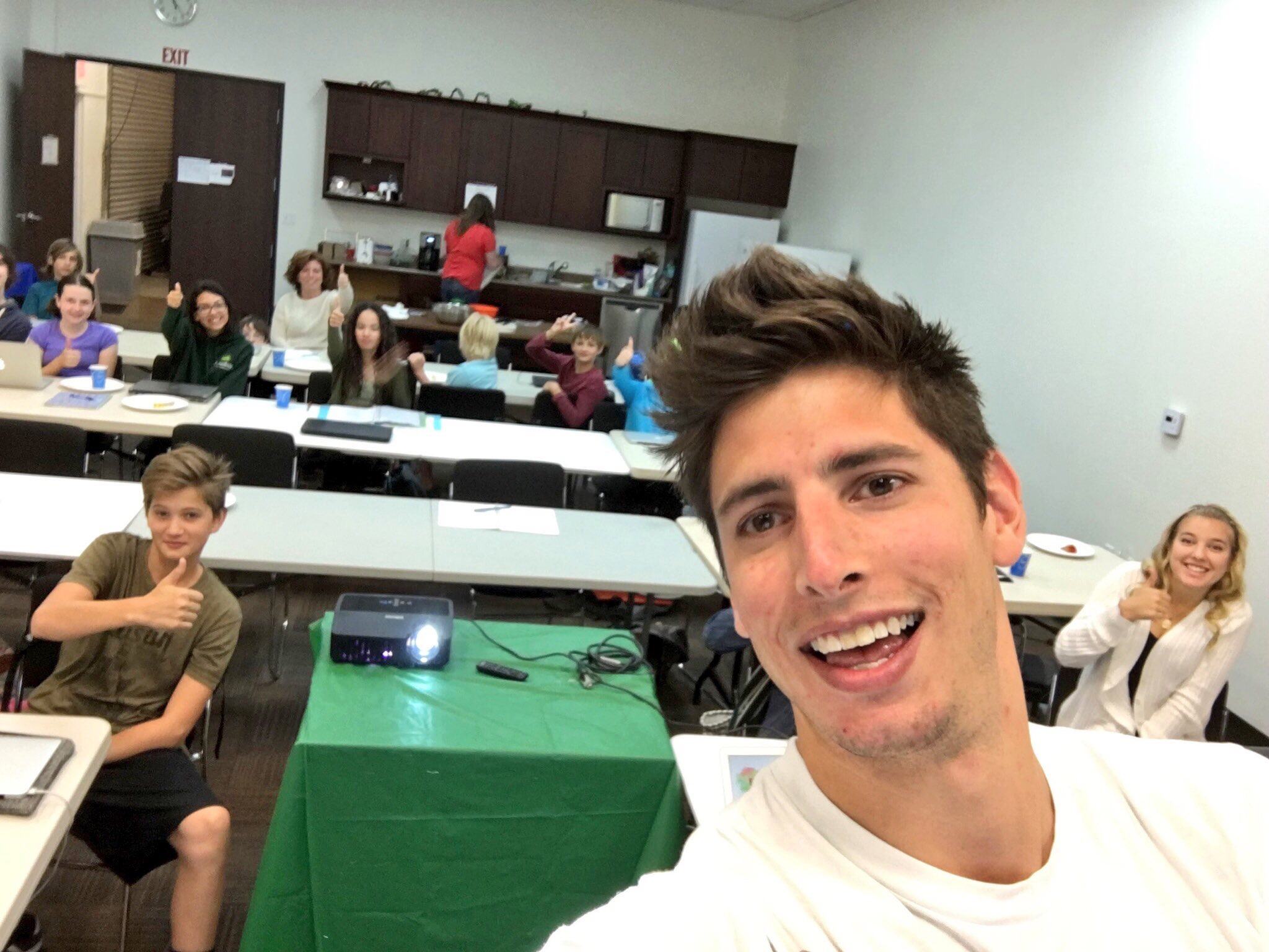 Had to snag a selfie with the kids before my intro presentation.