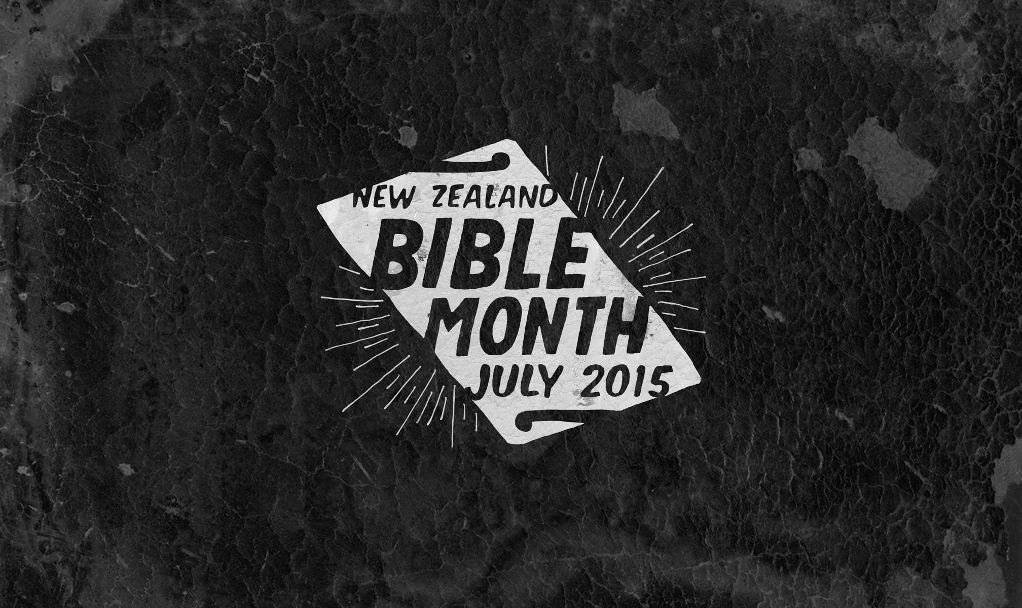 The NZ Bible Month campaign identity combines an angled leather Bible, a halo, kiwiana motifs and handcrafted type.