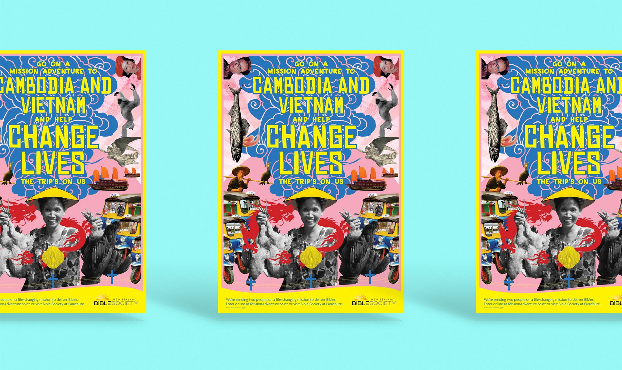 This 'Change Lives' poster aims to engross and delight. The concept, a visual slap, is based on the premise that travel to the orient overwhelms westerners.
