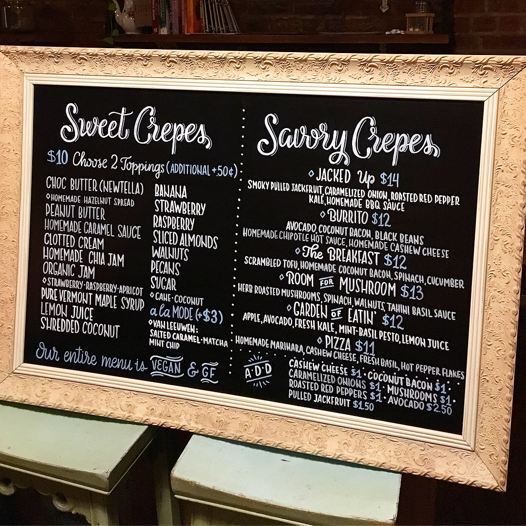 Chalk menu created for Little Choc Creperie in Brooklyn in 2017.