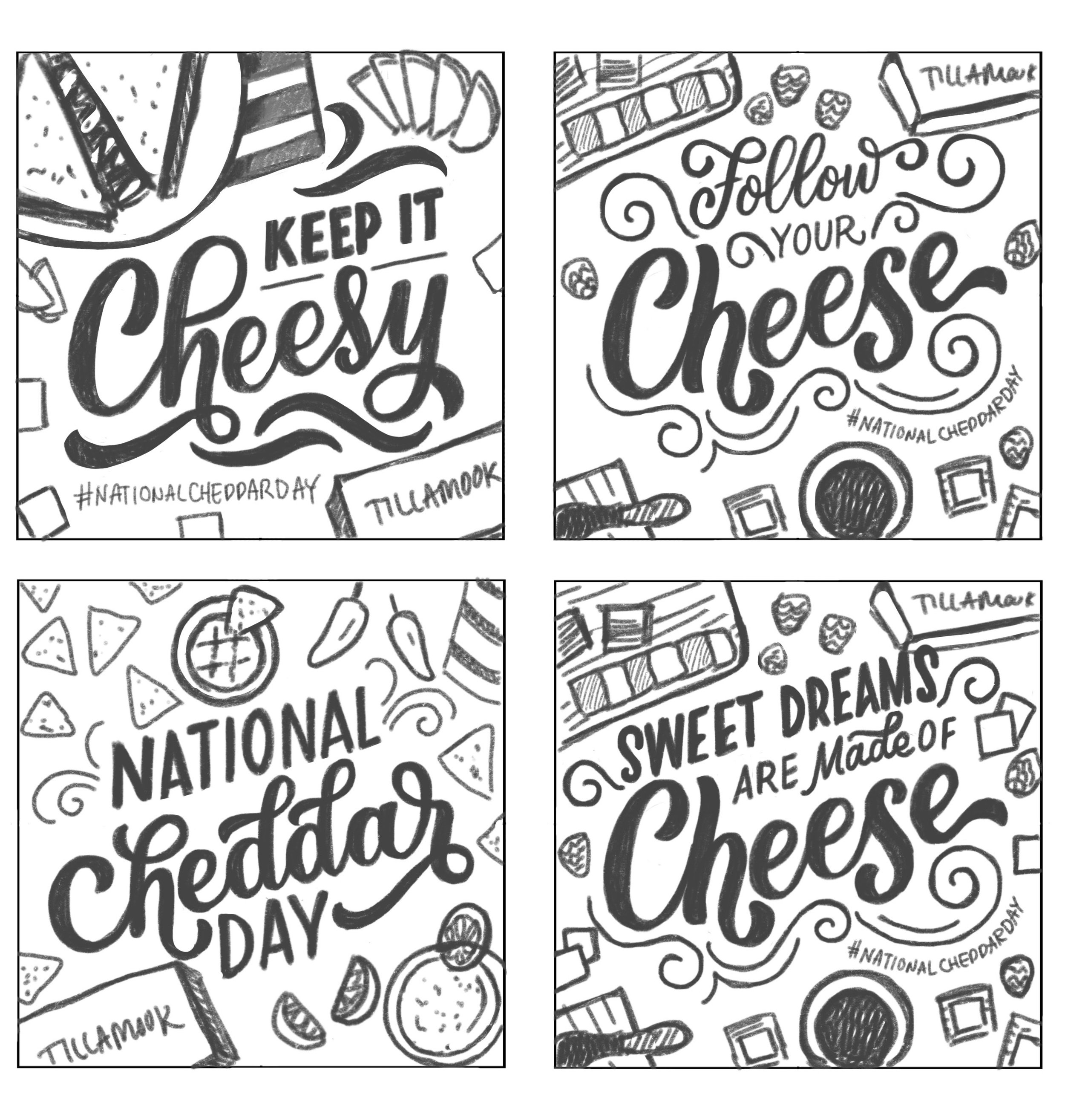 Initial rough sketches I provided to Tillamook with various themes for how to celebrate National Cheddar Day.