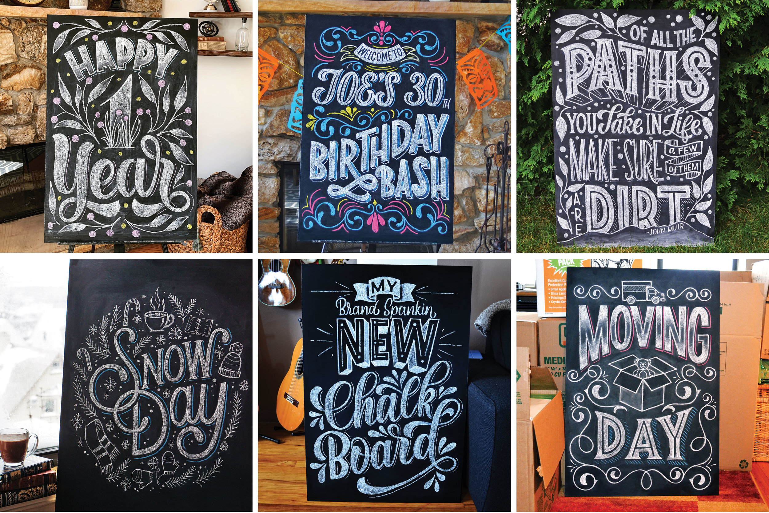 Examples of personal projects on my home-made chalkboard